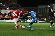 Alex Addai shoots and scores the opening goal of the game during the The FA Cup match between Swindon Town and Cheltenham Town at the County Ground, Swindon, England on 19 November 2019.