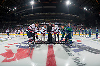 REGINA, SK - MAY 23: Opening ceremonies official puck drop at the Brandt Centre on May 23, 2018 in Regina, Canada. (Photo by Marissa Baecker/CHL Images)