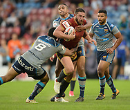 Sebastine Ikahihifo (L) & Jordan Turner of Huddersfield Giants stop Julian Bousquet of Catalans Dragons during the Ladbrokes Challenge Cup match at the John Smiths Stadium, Huddersfield<br /> Picture by Richard Land/Focus Images Ltd +44 7713 507003<br /> 31/05/2018