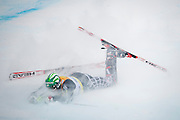 Bode Miller of the United States collides with a gate during the slalom portion of the Men's Super Combined on Birds of Prey course during the Audi FIS Birds of Prey World Cup in Beaver Creek, Colo., Friday, Dec. 4, 2009.  Miller did not finish the slalom due to a crash.