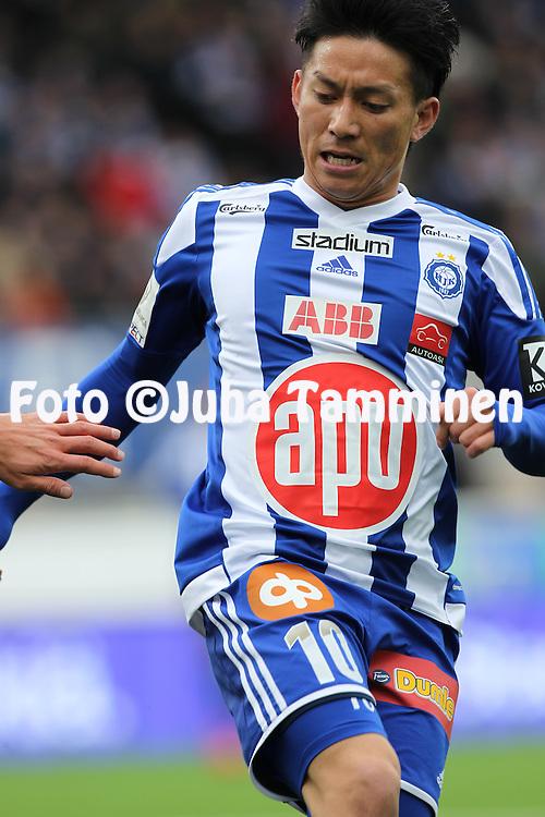 19.4.2015, Sonera stadion, Helsinki.<br /> Veikkausliiga 2015.<br /> Helsingin Jalkapalloklubi - FC Lahti..<br /> Atomu Tanaka - HJK