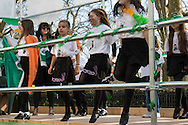 Irish dancer perform on the back of a lorry during the St Patrick's Day Parade in Westminster, London.<br /> Picture by Paul Davey/Focus Images Ltd +447966 016296<br /> 13/03/2016
