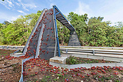 Red crabs crossing man-made bridge on Christmas Island. Photo credit: Parks Australia