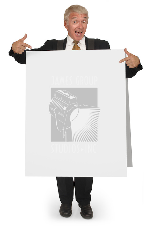 Corporate looking senior executive wearing a blank sandwich board