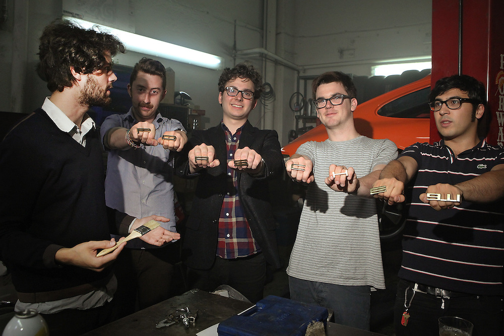 NEW YORK - MAY 14:  Michael Angelakos,  Jeff Apruzzese, Ian Hultquist, Nate Donmoyer and Ayad Al Adhamy of Passion Pit for a portrait backstage at the Classic Car Club on May 14, 2010 in New York City.  (Photo by Roger Kisby/Getty Images)