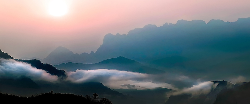Mountains that surround Luang Prabang, Laosat sunrise on a winters morning.