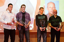 Jaka Zulic, Jaka Muhar and Zan Rudolf with his coach Svjetlan Vujasin during the Slovenia's Athlete of the year award ceremony by Slovenian Athletics Federation AZS, on November 12, 2008 in Hotel Mons, Ljubljana, Slovenia.(Photo By Vid Ponikvar / Sportida.com) , on November 12, 2010.