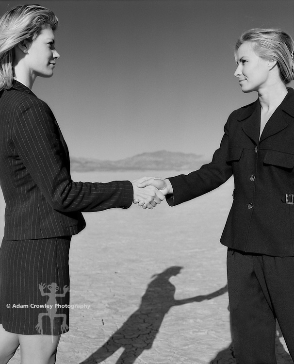 Businesswomen shaking hands (B&W)