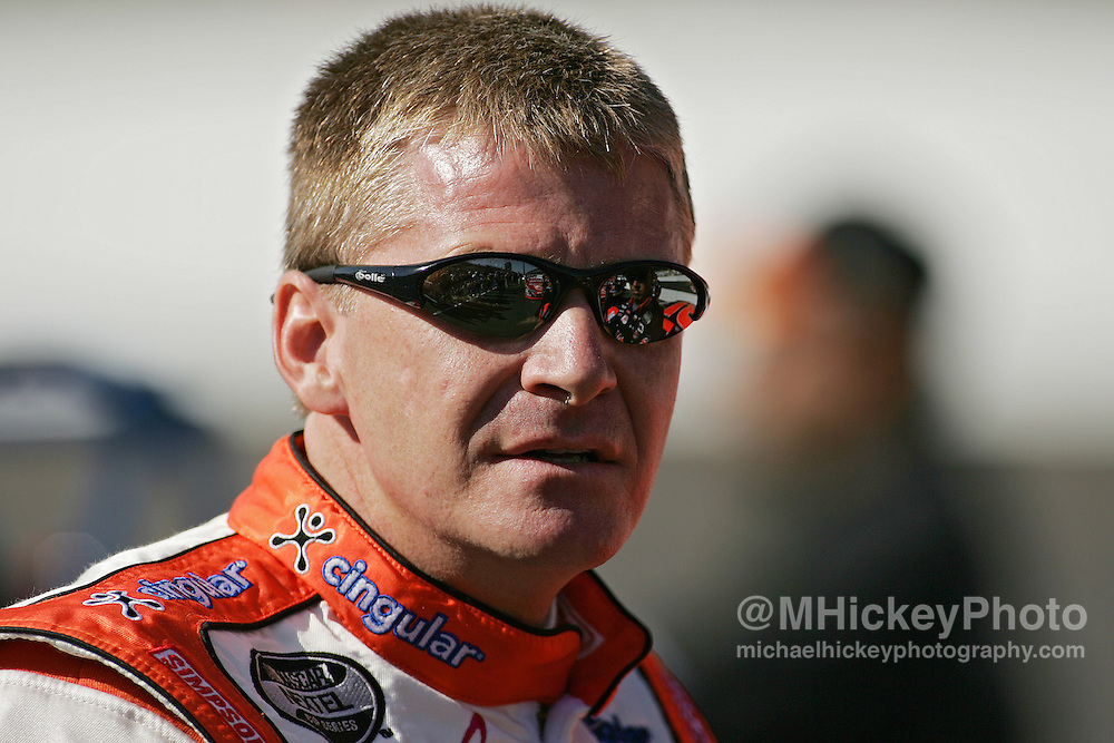 Eventual pole sitter Jeff Burton waits on his qualifying run for the Allstate 400 at the Brickyard Aug 5, 2006.