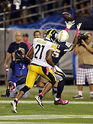 San Diego Chargers tight end Antonio Gates (85) reaches high and catches an 11 yard touchdown pass that gives the Chargers a 17-10 fourth quarter lead while covered on the play by Pittsburgh Steelers safety Robert Golden (21) during the 2015 NFL week 5 regular season football game against the Pittsburgh Steelers on Monday, Oct. 12, 2015 in San Diego. The Steelers won the game 24-20. (©Paul Anthony Spinelli)