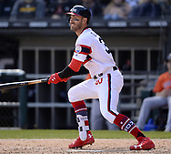 CHICAGO - APRIL 22:  Nicky Delmonico #30 of the Chicago White Sox bats against the Houston Astros on April 22, 2018 at Guaranteed Rate Field in Chicago, Illinois.  (Photo by Ron Vesely)   Subject:   Nicky Delmonico
