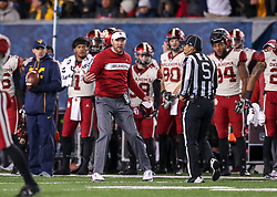 Nov 23, 2018; Morgantown, WV, USA; Oklahoma Sooners head coach Lincoln Riley argues a call during the fourth quarter against the West Virginia Mountaineers at Mountaineer Field at Milan Puskar Stadium. Mandatory Credit: Ben Queen-USA TODAY Sports