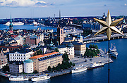 View from Stadshuset (City Hall) Tower towards Gamla Stan and Harbour.