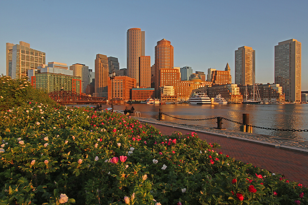 Boston skyline photography from New England based fine art photographer Juergen Roth. The Boston skyline image as seen from Fan Pier, part of the harbor walk, features famous landmarks of Boston Downtown, Boston Harbor and Financial District. The city picture was captured on an early morning.<br />