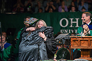 Executive Vice President and Provost Pam Benoit hugs Sarah Boston, after Sarah delivered the student address at undergraduate commencement. Photo by Ben Siegel
