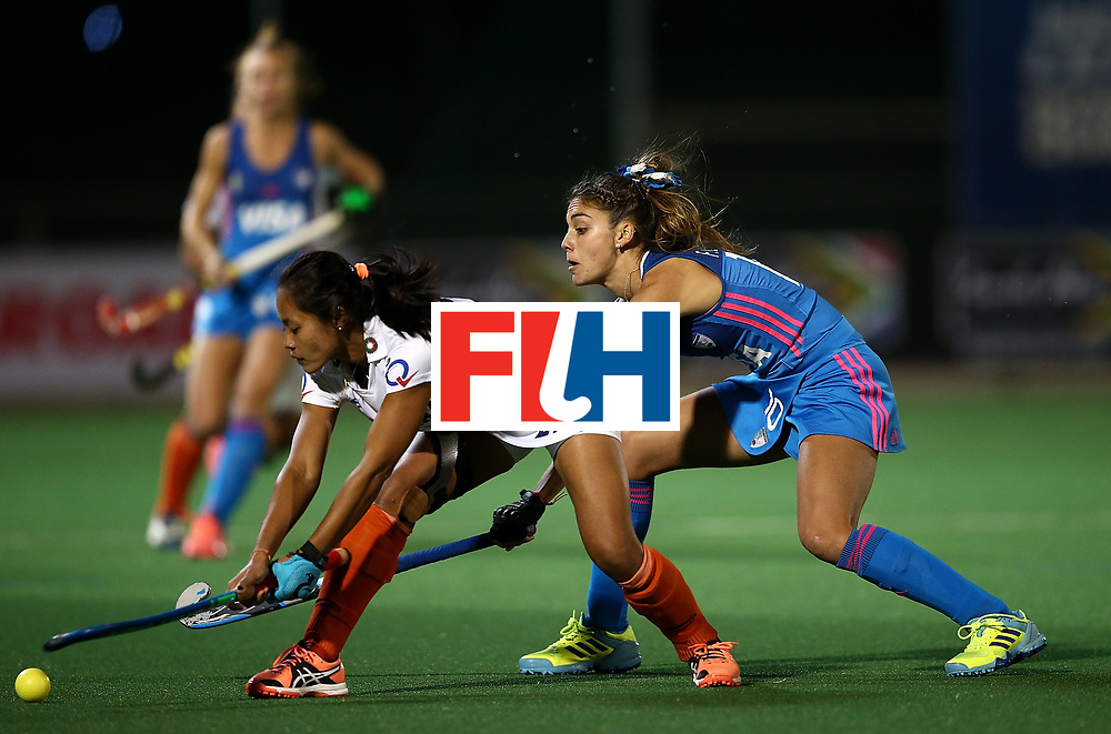 JOHANNESBURG, SOUTH AFRICA - JULY 16:  Magdalena Fernandez of Argentina battles with Sushila Pukhrambam of India during day 5 of the FIH Hockey World League Women's Semi Finals Pool B match between Argentina and India at Wits University on July 16, 2017 in Johannesburg, South Africa.  (Photo by Jan Kruger/Getty Images for FIH)