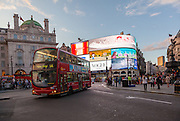 A London Bus in Piccadilly Circus in London, UK. Tuesday August 12th 2014