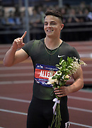 Feb 9, 2019; New York, NY, USA; Devon Allen poses after winning the 60m hurdles in 7.61 during the 112th Millrose Games at The Armory.