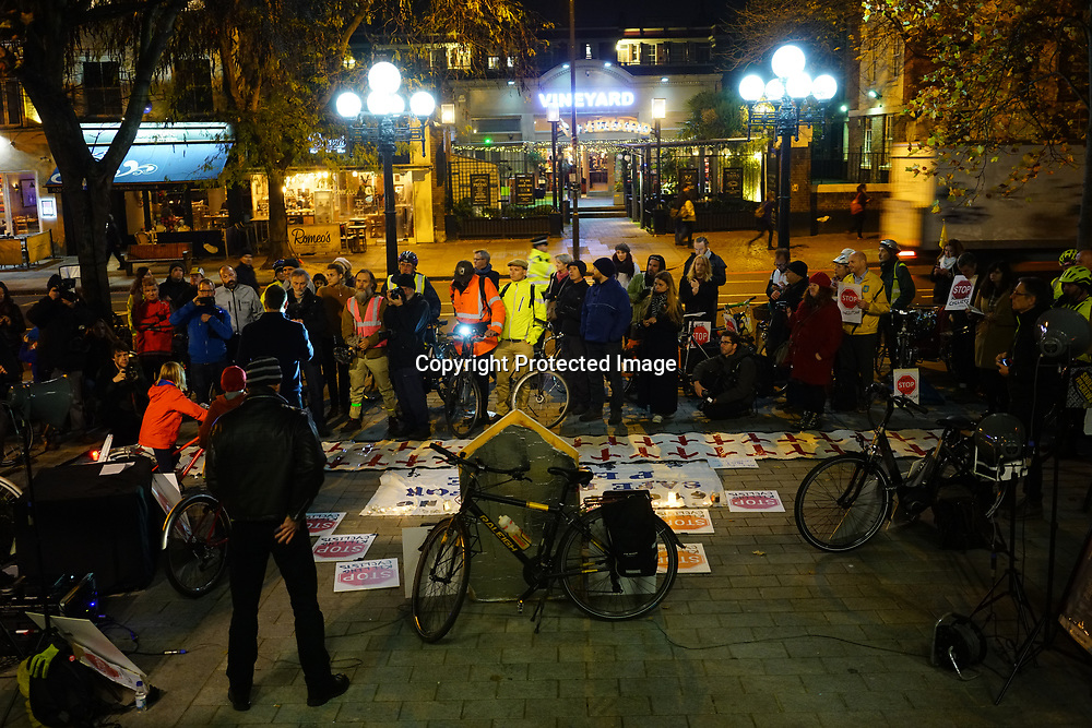 London, England, UK. 8th November 2017. Vigil the dead of cyclist Jerome Roussell outside Islington Town Hall and demand a safer for cyclist and HGVs driver must be renewed is new licensing for cyclist safety cause mostly by heavy vehicles.