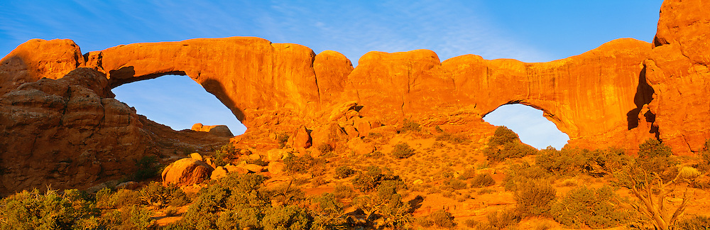 0301-1079 ~ Copyright:  George H. H. Huey ~ The Spectacles, sunset.  Windows section.  Arches National Park, Utah.