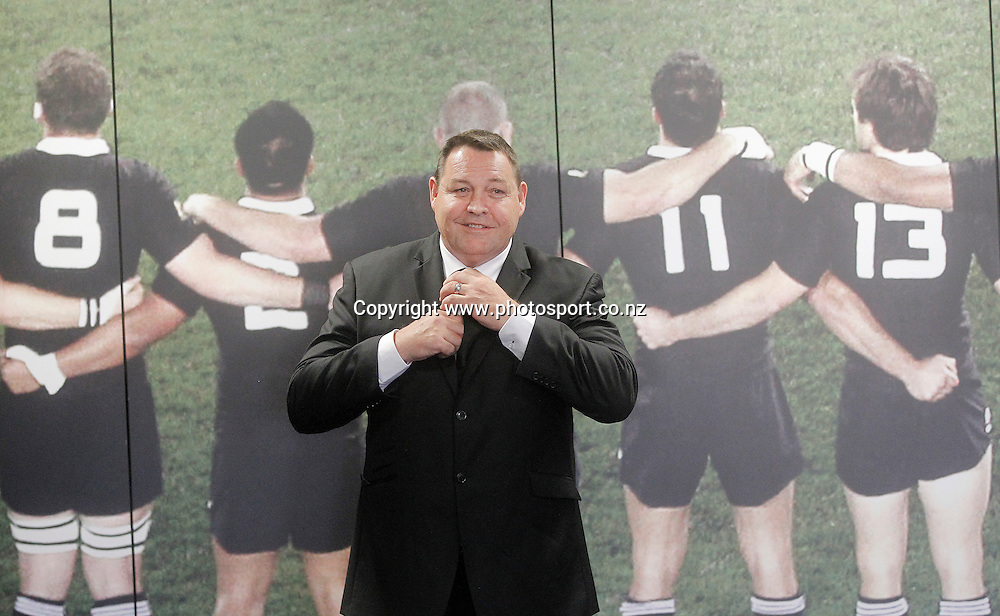 All Blacks coach Steve Hansen is reappointed as coach until 2017. NZRU headquarters, Wellington. 16 December 2014. Photo: www.photosport.co.nz