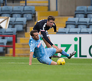 Dundee's Jack Hendry downs Bolton Wanderers' Gary Madine =Dundee v Bolton Wanderers pre-season friendly at Dens Park, Dundee, Photo: David Young<br /> <br />  - © David Young - www.davidyoungphoto.co.uk - email: davidyoungphoto@gmail.com