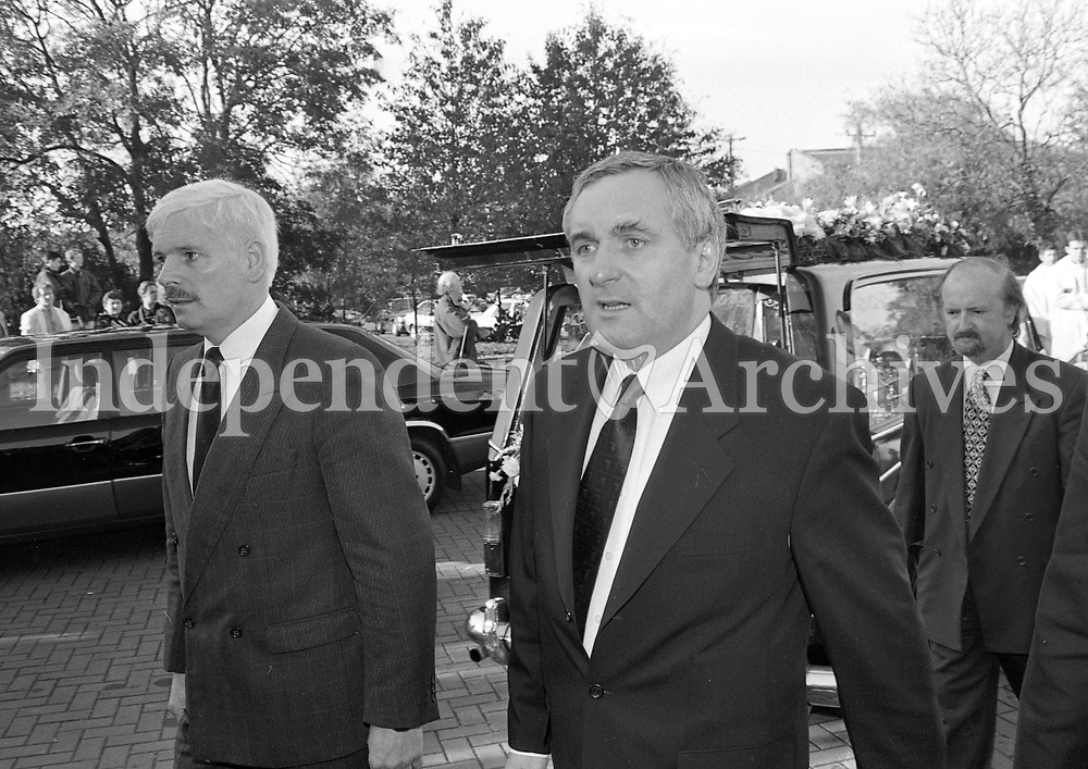 Fianna Fail Leader Bertie Ahern arriving at the Funeral Mass for Brian Lenihan at Our Lady's Church, Castleknock, Dublin, circa November 1995 (Part of the Independent Newspapers Ireland/NLI Collection).