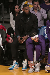 January 24, 2019 - Los Angeles, California, U.S - LeBron James #23 of the Los Angeles Lakers watches the game from the bench  during their NBA game with the Minneapolis Timberwolves on Thursday January 24, 2019 at the Staples Center in Los Angeles, California. Lakers lose to Timberwolves, 105-120. (Credit Image: © Prensa Internacional via ZUMA Wire)