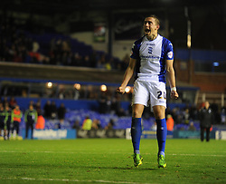 Birmingham City's Oliver Lee celebrates after scoring his penalty. -  - Photo mandatory by-line: Alex James/JMP - Tel: Mobile: 07966 386802 29/10/2013 - SPORT - FOOTBALL - ST Andrew's - Birmingham - Birmingham City v Stoke City - Capital One Cup - Forth Round