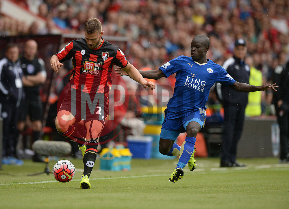 Ngolo Kante of Leicester City Battles for the ball with Simon Francis of Bournemouth - Mandatory byline: Alex James/JMP - 07966386802 - 29/08/2015 - FOOTBALL - Dean Court -Bournemouth,England - AFC Bournemouth v Leicester City - Barclays Premier League