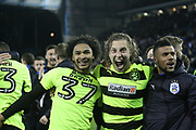 Huddersfield Town defender Michael Hefele (44) and Huddersfield Town forward, on loan from Chelsea, Isaiah Brown (37) celebrate during the EFL Sky Bet Championship play off second leg match between Sheffield Wednesday and Huddersfield Town at Hillsborough, Sheffield, England on 17 May 2017. Photo by John Potts.