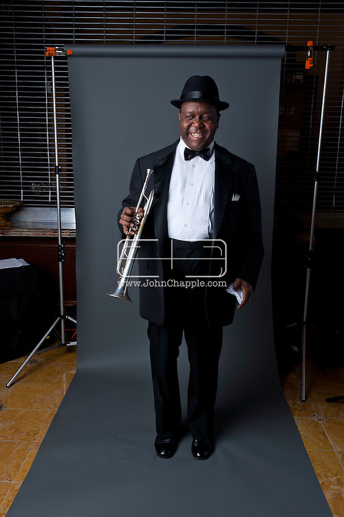 "24th February 2011. Las Vegas, Nevada.  Celebrity Impersonators from around the globe were in Las Vegas for the 20th Annual Reel Awards Show. Pictured is Troy ""Satchmo"" Anderson as Louis Armstrong. Photo © John Chapple / www.johnchapple.com.."