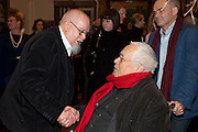 SIR PETER BLAKE; HOWARD HODGKIN, Opening of David Hockney ' A Bigger Picture' Royal Academy. Piccadilly. London. 17 January 2012