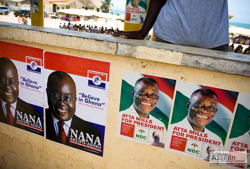 Election posters for New Patriotic Party (NPP) and National Democratic Congress (NDC) presidential candidates on a wall in Cape Coast, Ghana on Sunday September 7, 2008.