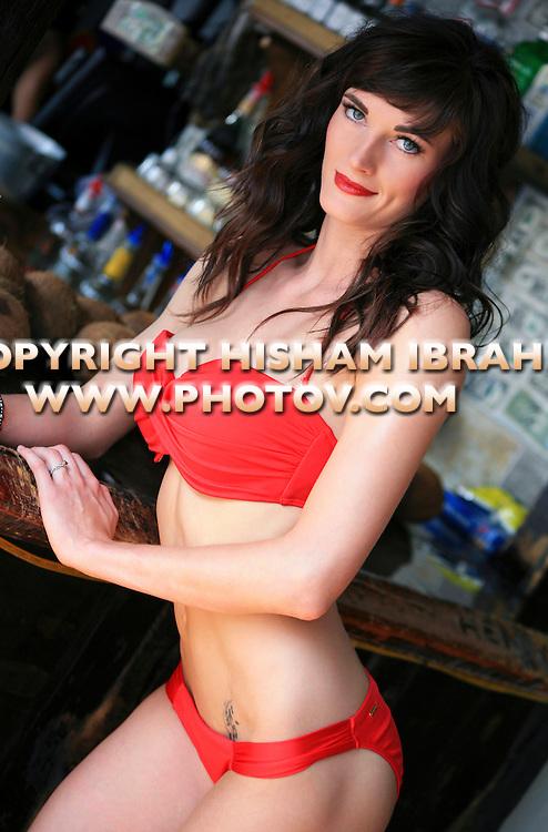 Sexy Brunette woman in bikini, Freeport, Bahamas