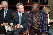 SIMON MANN; HIS LEGAL PRACTITIONER; JONATHAN SAMUKANJE ; ARTHUR MANN, Simon Mann and Marco Pierre White: Book launch for 'Cry Havoc' . Wheelers's. St. james's. London. 26 October 2011. <br /> <br />  , -DO NOT ARCHIVE-© Copyright Photograph by Dafydd Jones. 248 Clapham Rd. London SW9 0PZ. Tel 0207 820 0771. www.dafjones.com.