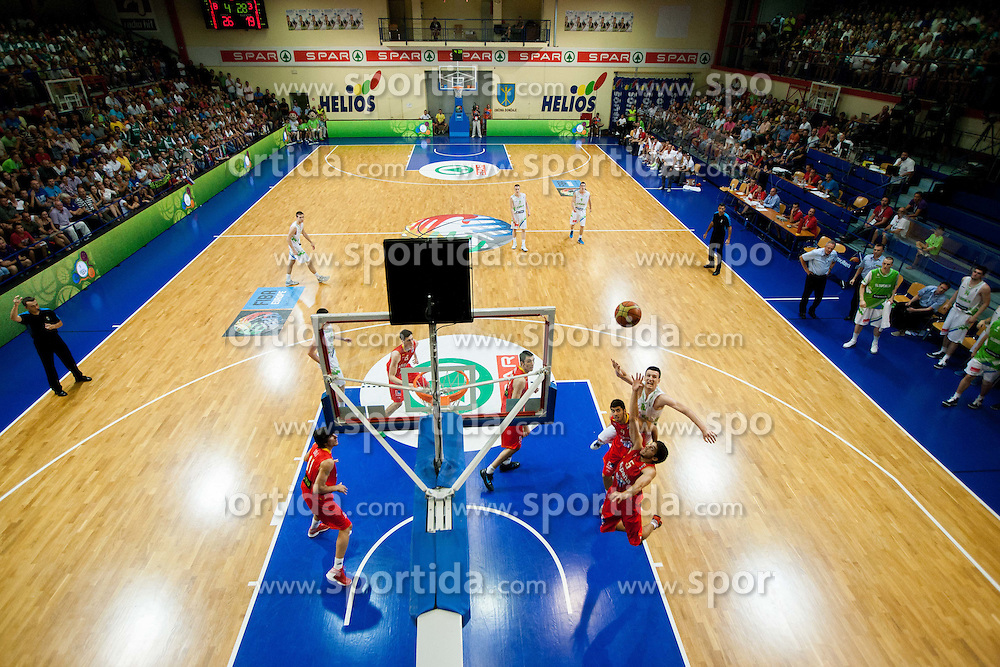 Alen Omic of Slovenia (R) during basketball match between National teams of Slovenia and Spain in Qualifying Round of U20 Men European Championship Slovenia 2012, on July 18, 2012 in Domzale, Slovenia. (Photo by Vid Ponikvar / Sportida.com)