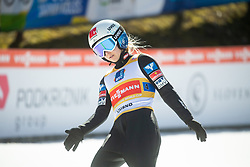 HOELZL Chiara  (AUS) celebrates after Day 1 of FIS Ski Jumping World Cup Ladies Ljubno 2020, on February 22th, 2020 in Ljubno ob Savinji, Ljubno ob Savinji, Slovenia. Photo by Matic Ritonja / Sportida