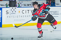 KELOWNA, CANADA - OCTOBER 13: Konrad Belcourt #5 of the Kelowna Rockets warms up with a shot against the Calgary Hitmen on October 13, 2017 at Prospera Place in Kelowna, British Columbia, Canada.  (Photo by Marissa Baecker/Shoot the Breeze)  *** Local Caption ***