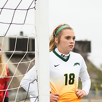 3rd year defender Cassie Longmuir (18) of the Regina Cougars in action during the Women's Soccer Home Game on October 21 at U of R Field. Credit Matt Johnson/Arthur Images