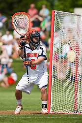 Virginia Cavaliers G Adam Ghitelman (8) in action against Villanova.  The #5 ranked Virginia Cavaliers defeated the #19 ranked Villanova Wildcats 18-6 in the first round of the 2008 NCAA Men's Lacrosse Tournament the University of Virginia's Klockner Stadium in Charlottesville, VA on May 10, 2009.