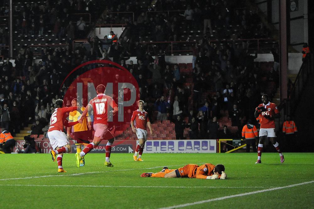 Bristol City's Aaron Wilbraham celebrates his second goal. - Photo mandatory by-line: Dougie Allward/JMP - Mobile: 07966 386802 - 11/11/2014 - SPORT - Football - Bristol - Ashton Gate - Bristol City v AFC Wimbledon - Johnstone Paint Trophy