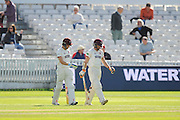 Ryan Davies of Somerset and Chris Rogers of Somerset walk out to bat on the 3rd moring of the Specsavers County Champ Div 1 match between Somerset County Cricket Club and Nottinghamshire County Cricket Club at the Cooper Associates County Ground, Taunton, United Kingdom on 22 September 2016. Photo by Graham Hunt.