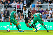 Joelinton (#9) of Newcastle United on the ball during the Premier League match between Newcastle United and Watford at St. James's Park, Newcastle, England on 31 August 2019.