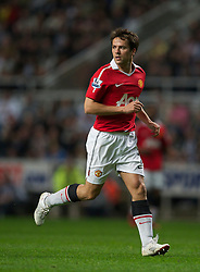 NEWCASTLE, ENGLAND - Tuesday, April 19, 2011: Manchester United's Michael Owen in action against Newcastle United during the Premiership match at St James' Park. (Photo by David Rawcliffe/Propaganda)