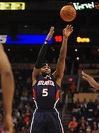 Feb. 23, 2011; Phoenix, AZ, USA; Atlanta Hawks forward Josh Smith (5) puts up a shot against the Phoenix Suns at the US Airways Center. Mandatory Credit: Jennifer Stewart-US PRESSWIRE