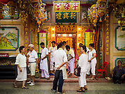 20 OCTOBER 2017 - BANGKOK, THAILAND: People wait to go into Chit Sia Ma Shrine in Bangkok's Chinatown on the first day of the Vegetarian Festival, what Thais call the Taoist Nine Emperor Gods Festival, in the Chinatown neighborhood of Bangkok, Thailand. It is a nine-day Taoist celebration beginning on the eve of 9th lunar month of the Chinese calendar. For nine days people participating in the festival wear only white and don't eat meat, poultry, seafood, and dairy products. The vegetarian festival is celebrated throughout Thailand, but especially in Phuket and Bangkok, cities with large ethnic Chinese communities.       PHOTO BY JACK KURTZ