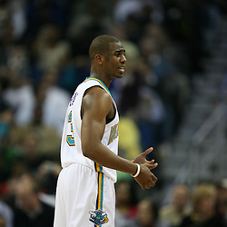 Chris Paul #3 for the New Orleans Hornets against the Phoenix Suns on February 26, 2008 at the New Orleans Arena in New Orleans, Louisiana. The New Orleans Hornets defeated the Phoenix Suns 120-103.