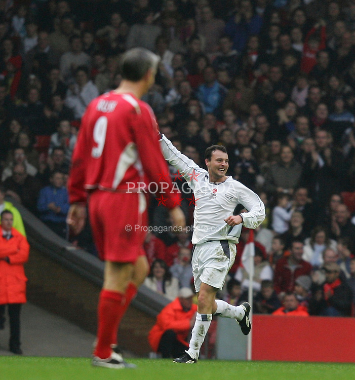 LIVERPOOL, ENGLAND - SUNDAY MARCH 27th 2005: Celebrity XI's Stephen Fletcher celebrates scoring against the Liverpool Legends during the Tsunami Soccer Aid match at Anfield. (Pic by David Rawcliffe/Propaganda)