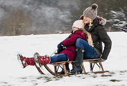 © Licensed to London News Pictures. 01/02/2019. High Wycombe, UK. People enjoy the wintry conditions in High Wycombe, Buckinghamshire after overnight snow falls and continuing low temperatures. Photo credit: Peter Macdiarmid/LNP